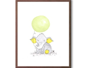 Baby Nursery Art, Elephant Nursery Decor, New baby Gift, Kids Room Art, Wall Art for Baby Nursery, E410