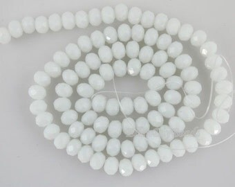 100 Pieces,New 6mm Romantic White Rondelle Faceted Crystal Beads, White  Crystal Beads,1Strand,Gemstone Beads,Supplies-BR047