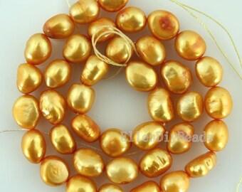 Baroque pearl Freshwater Pearl Potato Loose Pearl Golden Yellow Color 8-9mm 36pcs Full Strand Item No-BP010