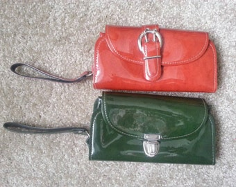 Vintage Red and Green Clutch wristlets 1970s