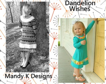 Dandelion Wishes Dress PDF Sewing Pattern in sizes 12m to 14, plus Coloring Page
