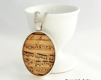Vintage Sheet Music Glass Pendant Necklace C
