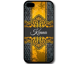 Damask Phone Case, iPhone Case, Samsung Galaxy Case, Yellow & Gray, Phone Case