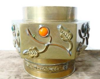 Vintage Chinese Brass Trinket Box - enamal, metal - home decor, Asian, collectible, ornate, lidded, vine, orange, green