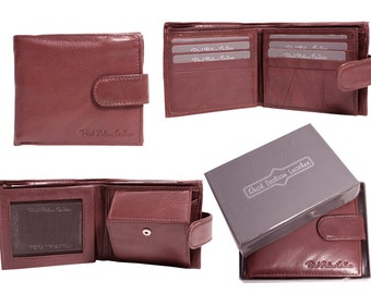 New Mens Handmade Italian Leather Tan Brown Leather Credit Card Wallet with ID Window ,Free Gift Box
