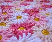 Crochet Pattern EVERLASTING DAISIES Blanket / Afghan / Throw PDF Instant Download