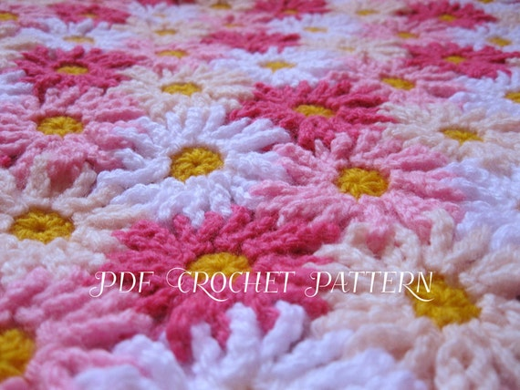 Crochet Daisy Flower Blanket Pattern : Crochet Pattern EVERLASTING DAISIES Blanket / Afghan / by ...