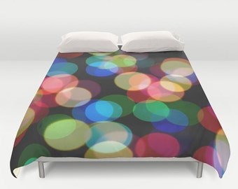 Rainbow Duvet Cover-Colorful Duvet Cover-Twin/Full/Queen/King Bedding-Whimsical-Teen Bedroom Decor-Black-Green-Blue-Yellow Red-Bold Bedding