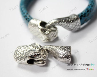 Snake Head Clasp, Antique Silver 10mmx6mm Hole to Hold For 10mmx6mm Licorice Leather MT392