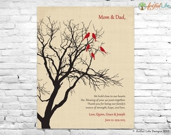 40th ANNIVERSARY GIFT for PARENTS, Ruby Wedding Anniversary Gift, Love Birds Family Tree, Parent's Wedding Anniversary, Parent Thank You