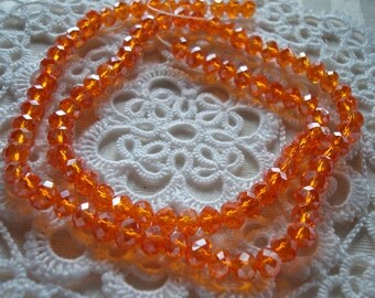 97 Tangerine Orange with AB Crystal Rondelles. 6x4mm. Pure Orange Loveliness!  Full 17 inch Strand  ~USPS Ship Rates/ Oregon!