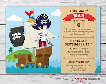 Pirate Party Invite – Printable Custom Invitation – Boys Party