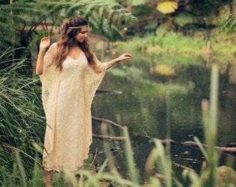 Angel Lace Bohemian Beaded Bridal Kaftan Dress, Gypsy Wedding Dress