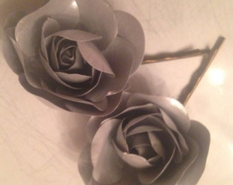 Silver/Gray Rose Hairpins set of 2