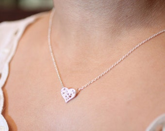 "Dainty Lace Heart Pendant Necklace on choice of 16"" or 18"" Chain + Lobster Clasp, 18k Gold Plated or Silver Plated Finish"