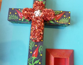 Mexican Folk Art Cross Wooden Painted Chili Pepper Design With Paper Flowers Free Standing