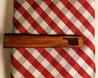 Oklahoma Engraved Tie Bar Crafted from Prairie Wine Barrel Stave
