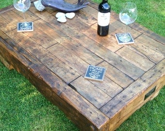 Handmade coffee table made from reclaimed hardwood. Rustic