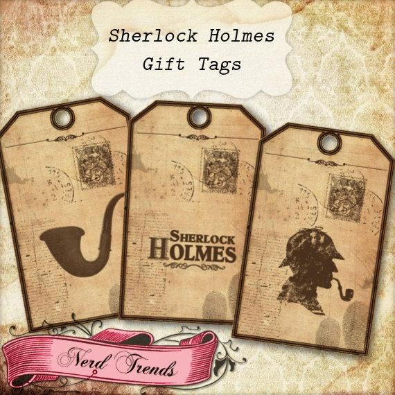Sherlock Holmes Gift Tags Printable Birthday Party Tags