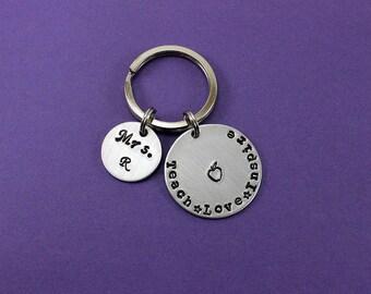 Personalized Teacher Gift - Teach Love Inspire Keychain - Teacher Appreciation - End of Year Teacher Gift -  Teacher Present
