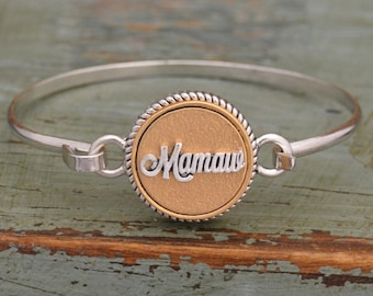 Two Tone Mamaw Bangle Bracelet