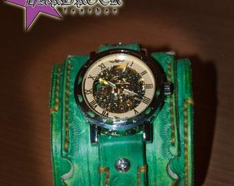Steampunk, Distressed,  Leather Wrist, wrist watch, man watch, Bracelet Watch, Man Gift, Distressed green
