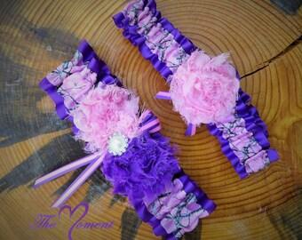 Pink Camo Garter with Purple, Camo Wedding Garter Set, Pink and purple Garter, Handmade Garter Set, Camo Wedding, Purple Camo, Prom Garter