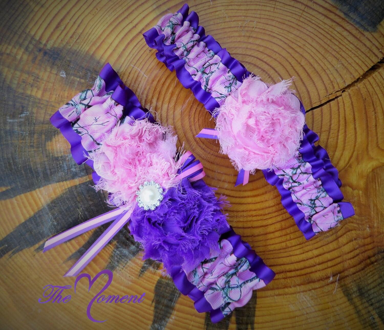 Camo Garter For Wedding: Pink Camo Garter With Purple Camo Wedding Garter Set Pink
