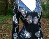 80s Sequin Top Hand-Beaded Silk V-neck Elvira Blouse