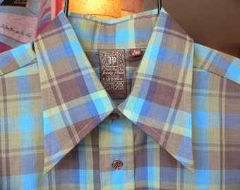 FREE SHIPPING!!! Mens Vintage Handsome Plaid Long Sleeved Button Up Shirt by Jandy Place Bardon Inc.