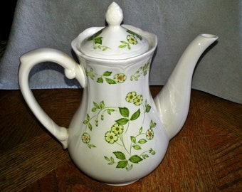 Petite Flora Ironestone Coffee or Tea Pot With Lid - Harmony House Sears - Made in Japan