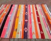 Turkish Kilim Rug, stripped Antique Colorful Kilim Rugs, Flatwoven Kilimrug, Area Rug, kelim rug, Turkish rugs, floor rug, area rug,
