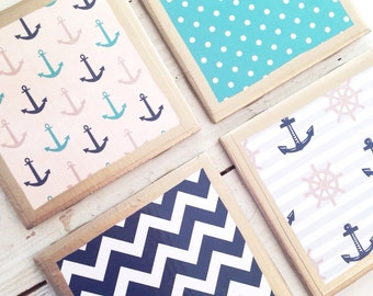 COASTERS!!! Anchors Away Set of Nautical Coasters with Gold Trim