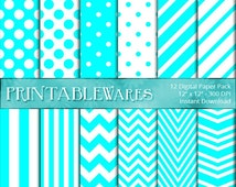 Aqua Digital Paper Pack - Decoration - Light Blue Chevron, Party, Birthday, Polka Dots Scrapbook - Card Making - Printable Backgrounds 12x12