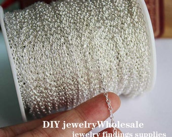 16ft silver 2mm Oval Link Chain Loop Chain 2mm O Chains