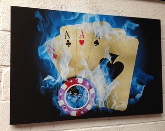 Poker Casino Framed Canvas Art Picture Huge A1 Size