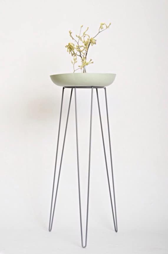 Items similar to grey metal wire plant stand mid century inspired on etsy - Flower pot stands metal ...
