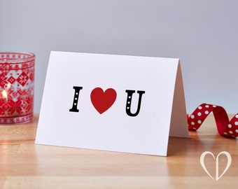 Simple I Love You Card, Valentines Card, Anniversary Card, Love Card, Just Because Card, Card for him, Card for her, Love you card