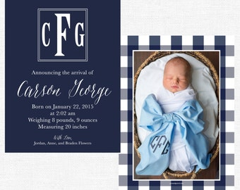 Monogrammed Square Navy Baby Boy Announcements-FREE SHIPPING or DIY printable