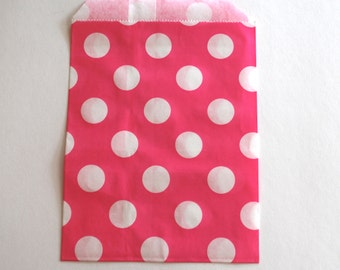 Hot Pink Polka Dot Favor Bags