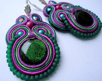 Soutache Earrings Green - Violet