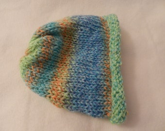 Hand knitted Lion Brand Tweed Stripes Bulky Warm Soft Hat  V3044