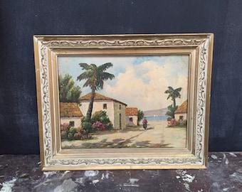 Vintage Framed Painting Beach Town Scene