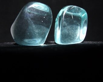 Aqua and Sunshine Yellow Obsidian 2 Stones Color Therapy