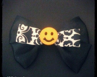 Smiley Face Hair Bow/ Bored Inspired Bow MADE TO ORDER