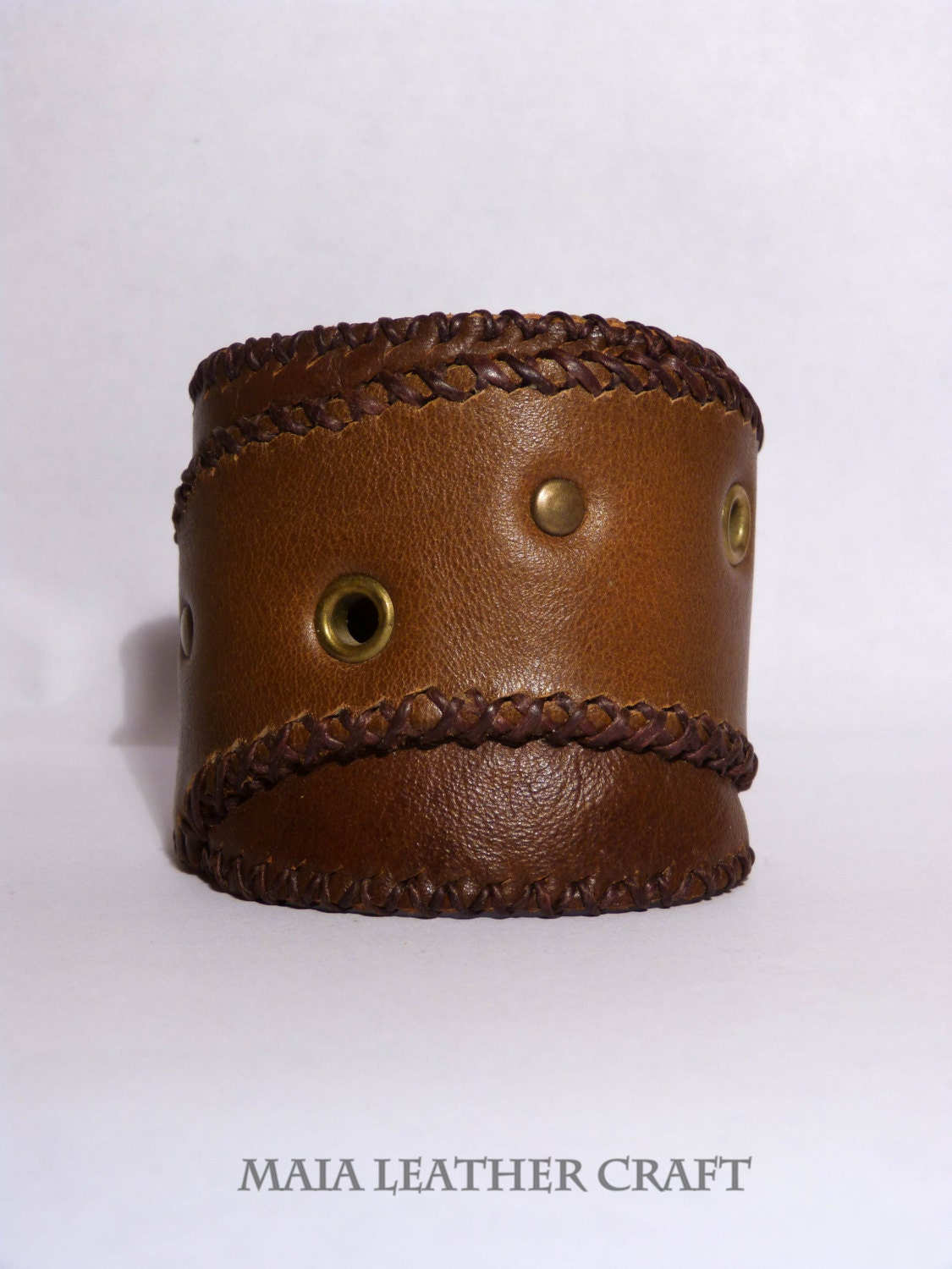 Leather bracelet - cuff - brown steampunk buy now online