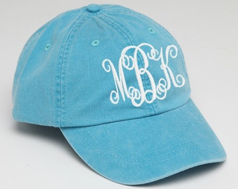 Caribbean Blue Monogram Baseball Cap for Ladies-Pigment Dyed, Personalize Baseball Cap with Custom Monogram, Custom Embroidery, monogram hat