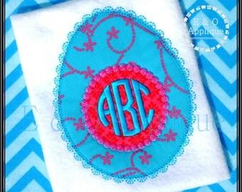 Easter Egg Lace Applique Design - Easter Applique - Easter Egg Applique - Monogram Easter Egg Applique