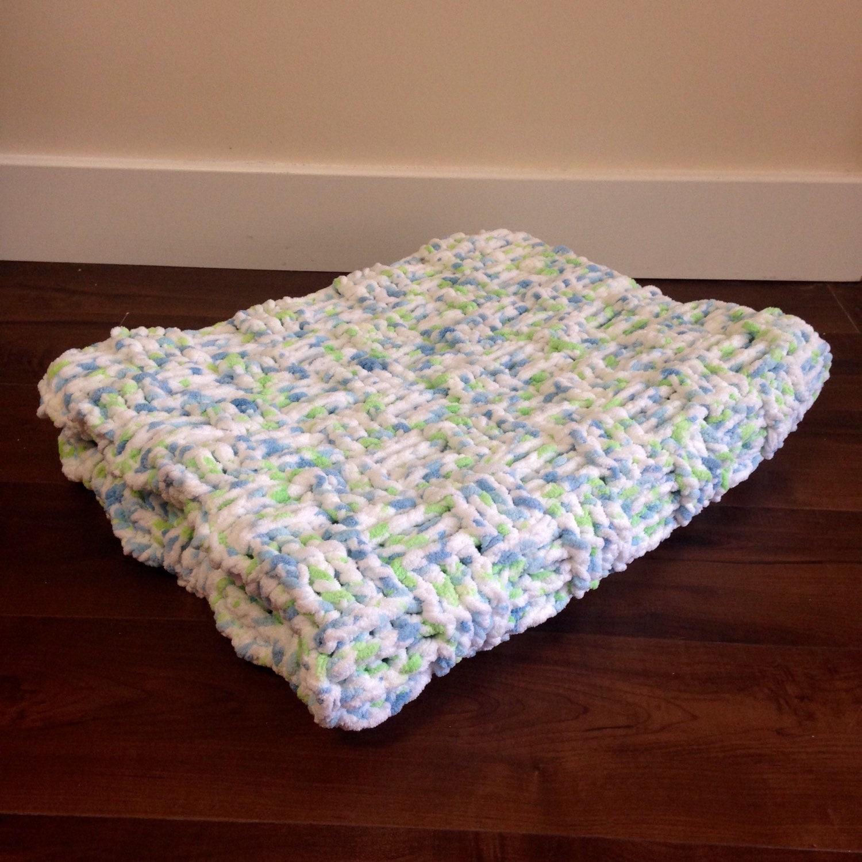 Crochet Baby Blanket Basket Weave Pattern : Basketweave Crochet Baby Blanket Blue Green and White Basket