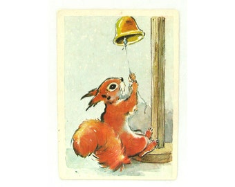 Squirrel , Unused Postcard, Illustration, Humburger, Unsigned, Soviet Vintage Postcard,  USSR, 1979, 1970s, 70s